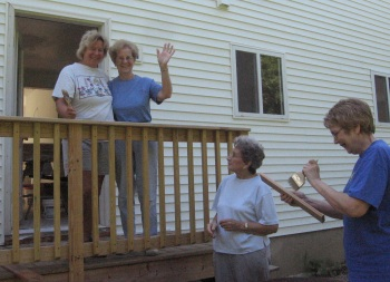 The ladies of Grace pose on the back porch.