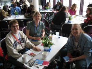 Bobbie, Kristen and Barbara from our group taking a break from the Kirchentag events at the international center.