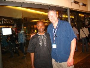 Ken and Pastor Harman. Ken is a new friend Pastor made at the international center of the Kirchentag.  He is a minister in Kenya and led a group of 45 or so from Kenya to experience the Kirchentag and perform as well. Kenyan worship singing filled the halls at various times and it was a beautiful sound!
